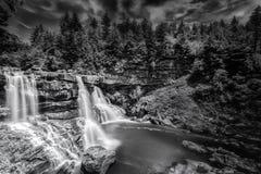 Blackwater Falls in West Virginia. Blackwater Falls in the forest of West Virginia in black and white Stock Photos