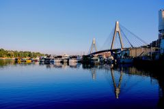 Blackwattle Bay and the Anzac Bridge, Sydney Harbour, Australia Stock Photos