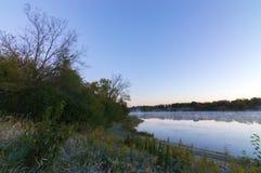Blackwell sjö på soluppgång nordliga Illinois arkivfoto