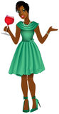 BlackWomanGreenDress Royalty Free Stock Images