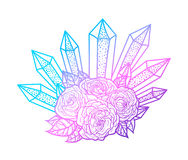 Blackwork tattoo of rose and crystals bouquet. Very detailed vector illustration. Boho design for print, posters, t-shirts Stock Images