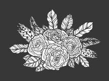 Blackwork tattoo of rose and feathers bouquet. Very detailed vector illustration. Boho design for print, posters, t-shirts Royalty Free Stock Image