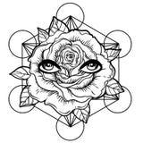 Blackwork tatuażu błysk Wzrastał kwiatu, święta geometria, oczy wysoki royalty ilustracja