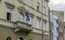 Blacony with Croatia flags royalty free stock photo