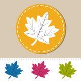 Blad Autumn Web Icons - färgrik vektorillustration - som isoleras på vit Arkivfoton