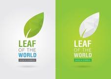 Blad av världen Eco volontärsymbol För grön affärssoluti Royaltyfri Fotografi