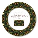 Blad för blomma för rund Retro antikvitet för ram 316 för tappning grönt guld- vektor illustrationer