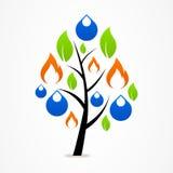 Blad för brand för droppe för träd för logoaffärsabstrakt begrepp Arkivbilder