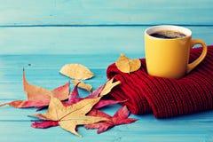 Blad för kaffekopp och höst Fotografering för Bildbyråer