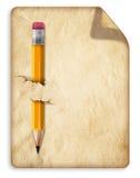 Blad krullend oud document met potlood Royalty-vrije Stock Afbeelding