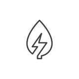 Blad med linjen symbol, översiktsvektortecken, linjär stilpictogram som för blixtbult isoleras på vit Royaltyfria Bilder