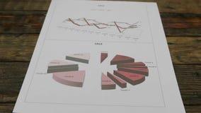 Blad met diagrammen die op een houten lijst liggen Beweging van de schuifcamera stock video