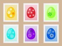 Blad met zegels met geschilderde eieren voor uw Pasen-post Stock Afbeelding