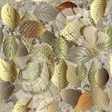 Blad modern grunge 3d vector naadloos patroon Sierflora royalty-vrije illustratie
