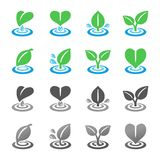 Blad- och krusningssymbolsuppsättning stock illustrationer