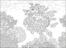 Blad overzeese draak op een koraalrif royalty-vrije illustratie