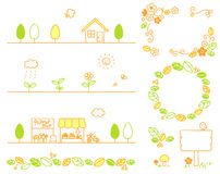 Blad, stad, bloemen, winkels, hout, ecologie royalty-vrije illustratie