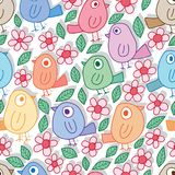 Blad van de vogel het kleurrijke bloem velen naadloos patroon vector illustratie