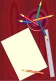 Blad van een document en potloden Royalty-vrije Stock Afbeeldingen
