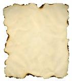 Blad van een gebrand document Stock Foto