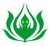 Blad van lotusbloemkarakter - abstract teken, Gezondheidssymbool Aardembleem Het groene teken van het het levensembleem Het picto royalty-vrije illustratie