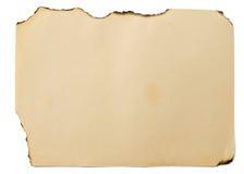 Blad van oud gebrand document Stock Afbeelding