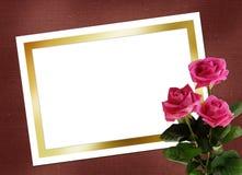 Blad voor ontwerp met boeket roze rozen Royalty-vrije Stock Foto's