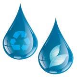 Bladdroppe - ekologiskt begrepp - logo Royaltyfri Fotografi