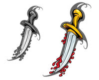 Blade with blood. In cartoon style for tattoo design Stock Image