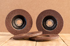 Blade grinder and red color abrasive flap grinding disc. Stock Image