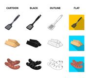 Blade kitchen, firewood, sausages and other for barbecue.BBQ set collection icons in cartoon,black,outline,flat style. Vector symbol stock illustration Royalty Free Stock Photo