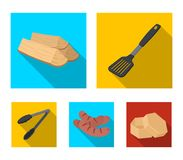 Blade kitchen, firewood, sausages and other for barbecue.BBQ set collection icons in flat style vector symbol stock. Illustration Stock Photo