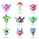 Blade like abstract icons. Abstract blade like icons resembling wings, fish and fishbones Stock Images