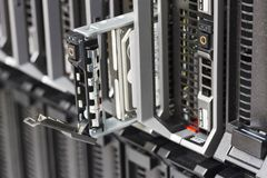Blade Server with Hard Drive Stock Image