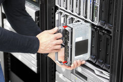 Blade server installation in large datacenter Stock Photos