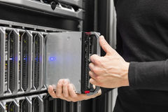 Blade server installation in large datacenter Royalty Free Stock Photography