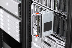 Blade server rack in large datacenter Royalty Free Stock Photo