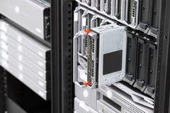 Blade server rack in large datacenter Royalty Free Stock Photo