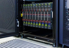 Blade server server equipment rack data center closeup. Blade server server equipment rack data center Royalty Free Stock Photo
