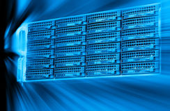 Blade server server equipment rack data center closeup and blur blue toning. Blade server server equipment rack data center closeup Royalty Free Stock Photos