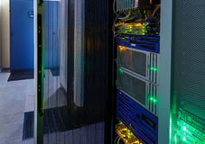 Blade server server equipment rack data center closeup Royalty Free Stock Photography