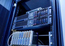 Blade server server equipment rack data center closeup. Modern blade server server equipment rack data center closeup Royalty Free Stock Photography