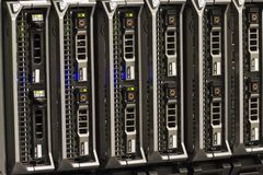 Blade Servers. In a blade chassis in a rack. Shot in a data center royalty free stock images