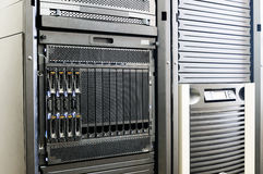 Blade servers in rack. Blade servers and system storage in rack Royalty Free Stock Photo