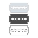 Blade set vector. Blade razor set - metal, black and line vector icon stock illustration