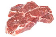 Blade Steak Raw on White. Blade Steal Raw - two pieces of beef top blade steak, suitable for making stew, isolated on white, front to back focus Royalty Free Stock Image