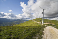 Blade wind. Mountain landscape with wind blade plant Royalty Free Stock Photo
