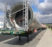 The blade of wind power plant. This is transport blade of wind power plant. Large wind farms consist of hundreds of individual wind turbines which are connected stock image