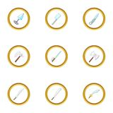 Bladed weapon icons set, cartoon style. Bladed weapon icons set. Cartoon style set of 9 bladed weapon vector icons for web design Stock Photography