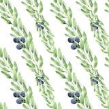 Bladeren, de bessen en de takken van het waterverf de naadloze patroon stock illustratie